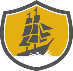 Sailing Galleon Tall Ship Crest Retro Stock Illustration