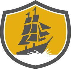 Sailing Galleon Tall Ship Crest Retro - stock illustration