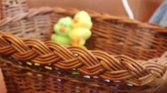 (Push In) Easter Basket with Duck Candy and Matching East Eggs Stock Footage