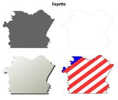 Fayette County, Pennsylvania outline map set - stock illustration
