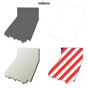 Indiana County, Pennsylvania outline map set - stock illustration