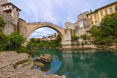 Old Bridge in Mostar - Bosnia and Herzegovina - stock photo