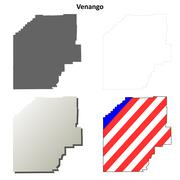 Venango County, Pennsylvania outline map set - stock illustration