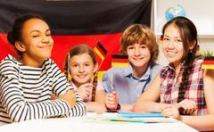 Happy multiethnic students at the language courses - stock photo
