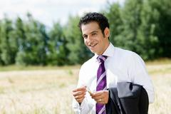 businessman feeling spike - stock photo