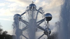 The Famous Sculpture Atomium and Fountains. Stock Footage