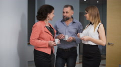 Business Team Coffee Break Relax Concept. Business people colleagues communicate Stock Footage