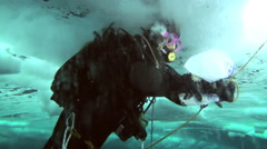 Divers under the Arctic ice at the North Pole the ice exploring underwater. Stock Footage