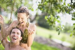 Man and woman in nature Stock Photos