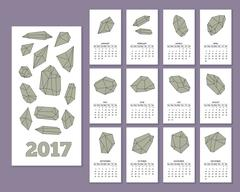 Monthly wall calendar for year 2017 Stock Illustration