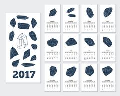 Monthly wall calendar for year 2017 - stock illustration