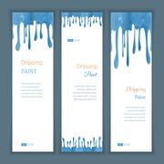 Set banners with clorful seamless dripping pain - stock illustration