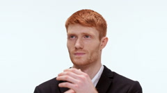 Pensive redhead man discouraged . Close up. Slow motion Stock Footage