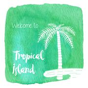 Watercolor Hawaiian, tropical graphic design - stock illustration