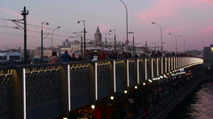 Turkey istanbul city galata bridge Stock Footage