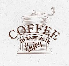 Poster coffee break brown - stock illustration