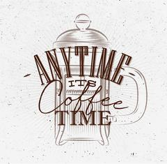 Poster its coffee time brown - stock illustration