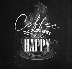 Poster coffee makes me happy - stock illustration