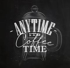 Poster its coffee time Stock Illustration