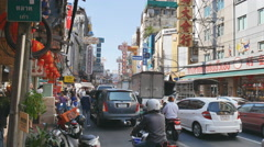 Editorial footafe of View of China town in Bangkok. Business zone of china peopl Stock Footage