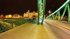Timelapse view on the Liberty Bridge and Gellert Building in Budapest Stock Footage