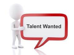 3d White people with speech bubble that says Talent Wanted. - stock illustration