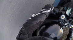 A speed motorcycle road adventure going in high speed. Point of view Stock Footage