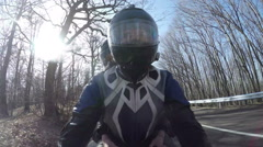 POV Man Riding Motorcycle On Country Road Stock Footage