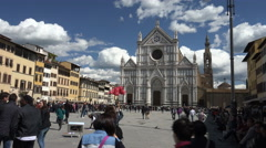 Tour group at Bascilica di Santa Croce, Florence, Italy - stock footage