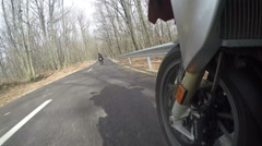 Motorcycle Wheel Close-up racing on the countryside Stock Footage