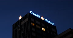 Credit Mutuel - French bank at night Stock Footage