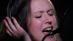 Portrait of a Young Girl Singing Stock Footage