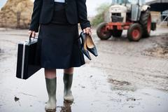 Business woman arriving at farm Stock Photos