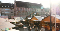 Elevated point of view over Christmas Market in France Stock Footage