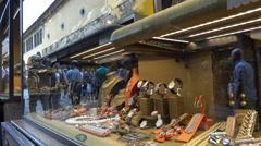 Window shopping, Ponte Vecchio tourists, Florence, Italy Stock Footage
