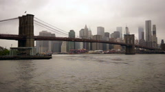 New York City Brooklyn Bridge East River Manhatten Skyline Stock Footage