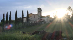 Church of San Martino a Mensola, sunset Stock Footage