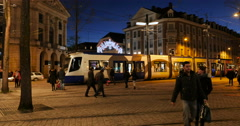 Boulevard de l'Europe tramways, people and architecture, Stock Footage