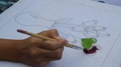 Painting flower vase Stock Footage