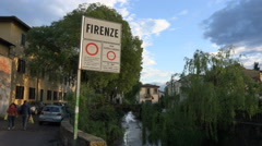 Scenic Firenze signpost, entering Florence, stream Stock Footage