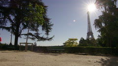 Couple Jogging with the eiffel tower in the background. Stock Footage