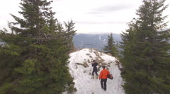 Winter mountain nature aerial shot with trees and  snow Stock Footage