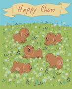 Happy Chow-chow on the blossoming field - stock illustration