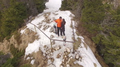 Love story aerial drone couple in winter scene Stock Footage