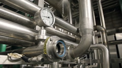 Pipes at a beer factory Stock Footage