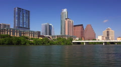 Austin Texas Skyline and Colorado River - stock footage