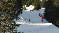 Ski slope Landscape with Children skiing in winter scene Stock Footage