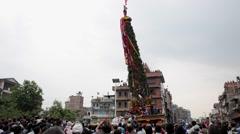 Chariot of rain Rato Machhindranath procession in Patan, Nepal Stock Footage