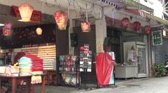Store Chinese lanterns in Pingxi Old Street, Taiwan Stock Footage