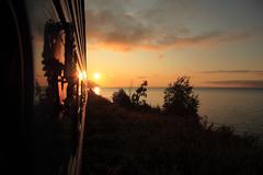 Trans-siberian express at sunrise - stock photo